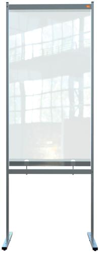 Nobo Floor Screen 780x2060mm Partial Clear PVC 1915558   Heavy duty PVC screen with weather resistant powder coated frame   Fusion Office UK