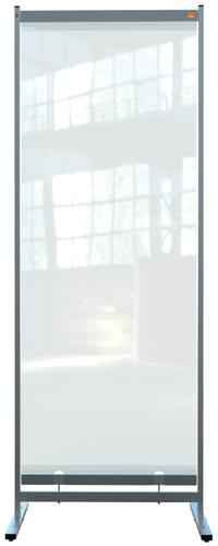 Nobo Floor Screen 780x2060mm Clear PVC 1915552 | Heavy duty PVC screen with weather resistant powder coated frame | Fusion Office UK