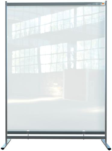 Nobo Floor Screen 1480x2060mm Clear PVC 1915553 | Heavy duty PVC screen with weather resistant powder coated frame | Fusion Office UK