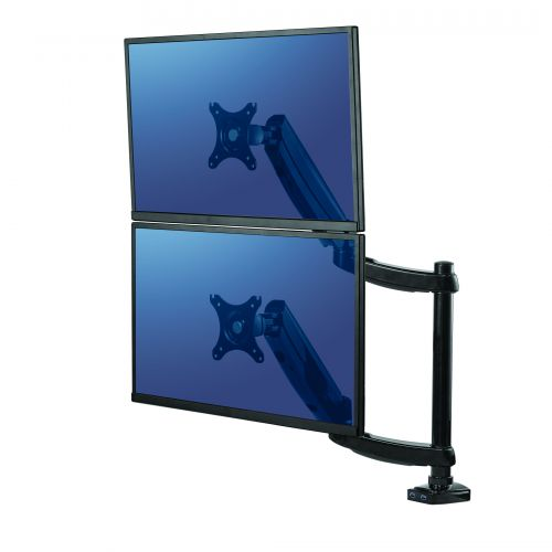Fellowes Dual Vertical Monitor Arm Platinum Series 8043401   Fully independent adjustable dual monitor arm   Fusion Office