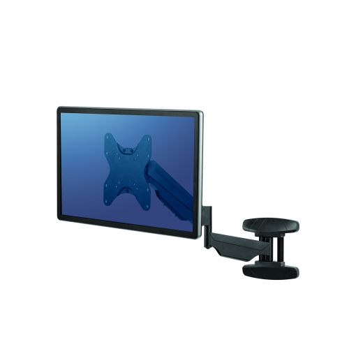 Fellowes Single Arm Wall Mount 8043501 | Mounts to wall and easily tucks into tight places. | Fusion Office