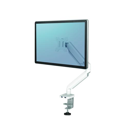 Fellowes Single Monitor Arm White Platinum Series 8056201   Elevate your monitors to increase valuable desk space   Fusion Office