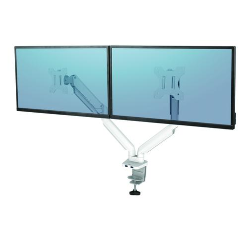 Fellowes White Dual Monitor Arm Platinum Series 8056301 | Elevate your monitors to increase valuable desk space | Fusion Office
