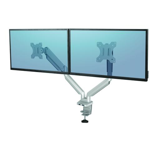 Fellowes Silver Dual Monitor Arm Platinum Series 8056501   Elevate your monitors to increase valuable desk space   Fusion Office