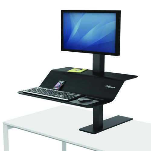 Fellowes Lotus VE Single Sit-Stand Workstation 8080101 | Compact Sit-Stand Workstation easily adjusts | Fusion Office