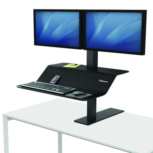 Fellowes Lotus VE Dual Sit-Stand Workstation 8082001 | Compact Sit-Stand Workstation easily adjusts | Fusion Office