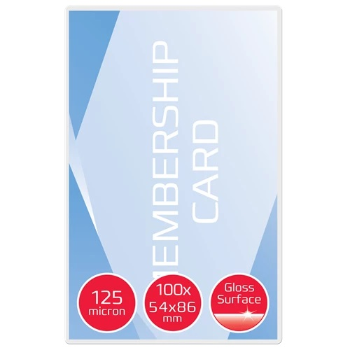 GBC Laminating Pouches Card 54x86 125mic 3740300 [Pack 100]   125 micron   High gloss finish   Photo compatible   Fusion Office UK