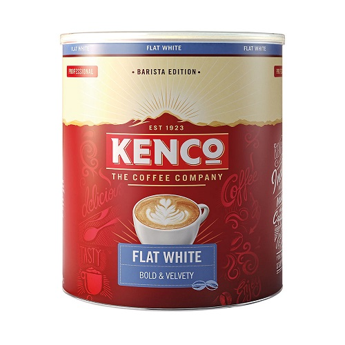 Kenco Flat White Instant Coffee 1kg   Perfect balance of strong espresso and smooth milk   Fusion Office