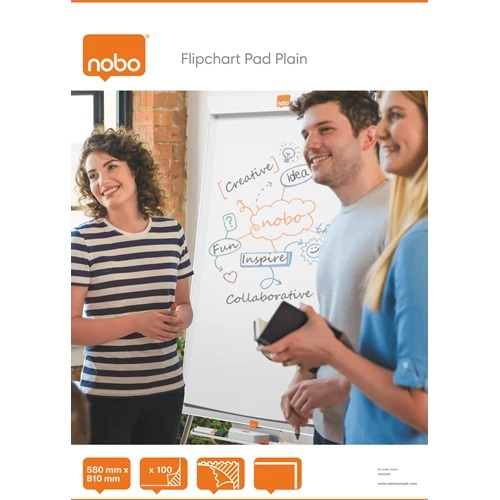 Nobo Flipchart Pad Plain 100 Sheets 34633681 [Pack 2] | Flipchart paper, easy to flip over & perforated for easy tear away | Fusion Office UK