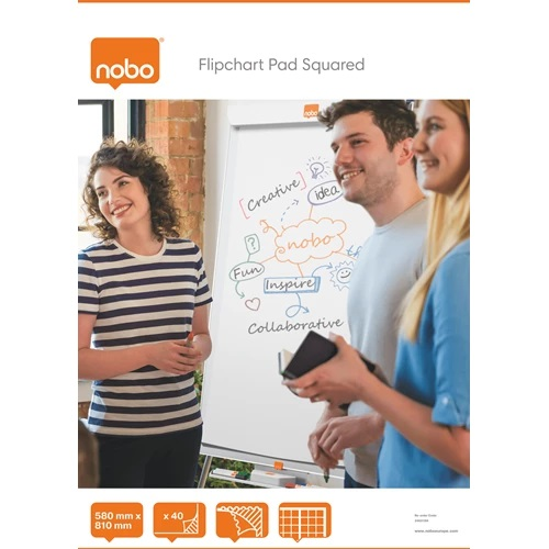 Nobo Flipchart Pad Squared 40 Sheets 34631166 [Pack 5] | Flipchart paper, easy to flip over & perforated for easy tear away | Fusion Office UK