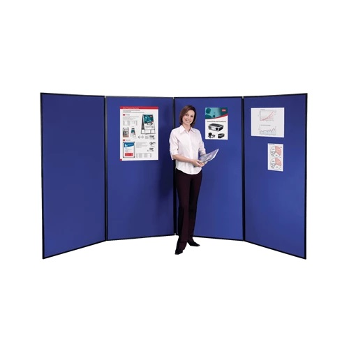 Nobo Showboard Extra 4 Panel Blue & Grey 1901711   Lightweight, portable & highly versatile   Supplied with carry bag   Fusion Office UK