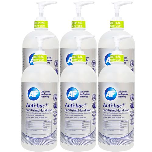 AF Sanitising Hand Rub 500ml Anti-Bac+ Ref ABHHR500 [Pack 6] | Above 70% alcohol content | Rapid formula | Fusion Office