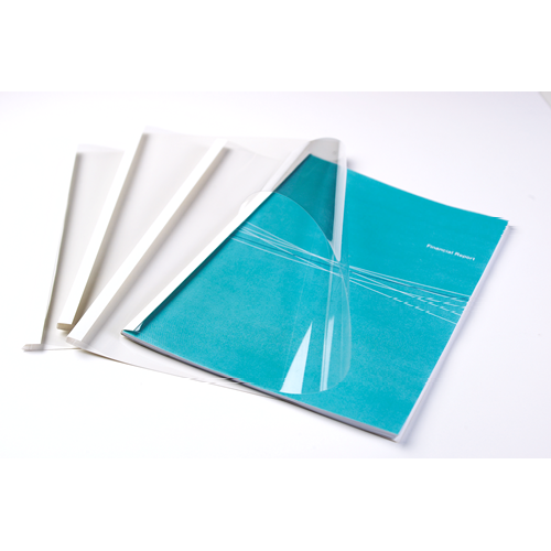 Fellowes 6mm Thermal Binding Covers [Pack 100] 53154 | Thermal binding covers for use with thermal binding machines | Fusion Office