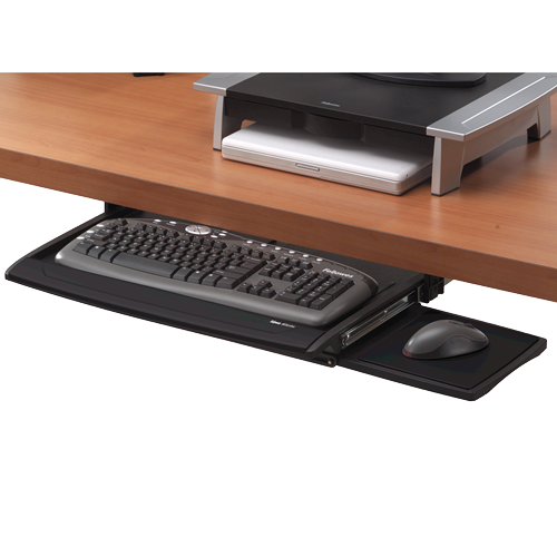 Fellowes Office Suites Deluxe Keyboard Manager 8031201 | Keyboard tray installs at three different heights | Fusion Office