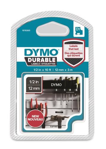 Dymo D1 Durable Vinyl Tape for Electronic Labelmakers 12mmx3m White on Black Ref 1978365   Authentic DYMO   Fusion Office