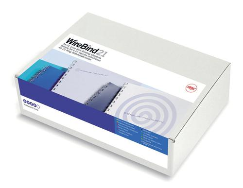 GBC WireBind 12mm White 21 Ring A4 IB165382 [Pack 100] | Permanently bound documents with a top quality contemporary finish | Fusion Office UK