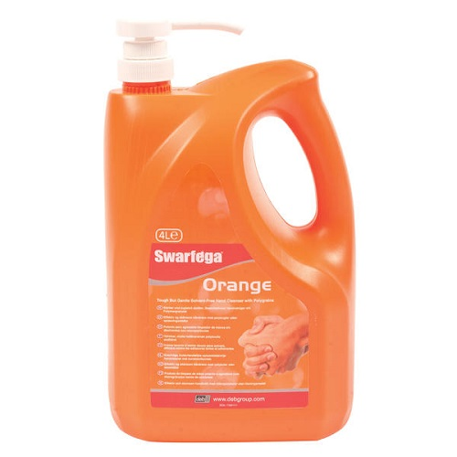 Swarfega Orange Hand Cleanser Pump 4L SOR4LMP | Solvent Free Heavy Duty Hand Cleanser | Deep Down Cleaning | Fusion Office UK