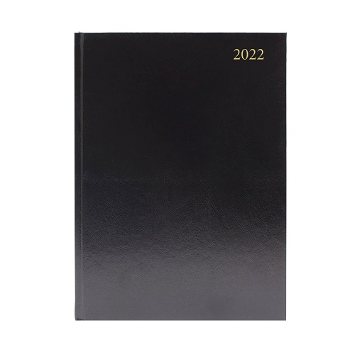 Diary A4 Day a Page Black 2022 | Ideal for meetings, appointments, deadlines and other plans | Fusion Office UK - Andover Hampshire