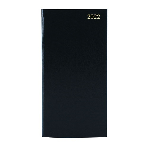Diary Pocket 2 Weeks to View Black 2022   Slim / Pocket size for bags and briefcases   Measures 159 x 79mm   Fusion Office UK