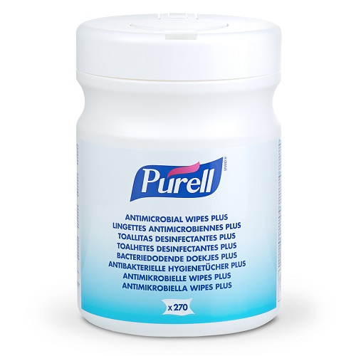 Purell Antimicrobial Wipes Plus 270's 9213-06 [Pack 6] | Durable, non-linting wipes with outstanding efficacy. | Fusion Office UK