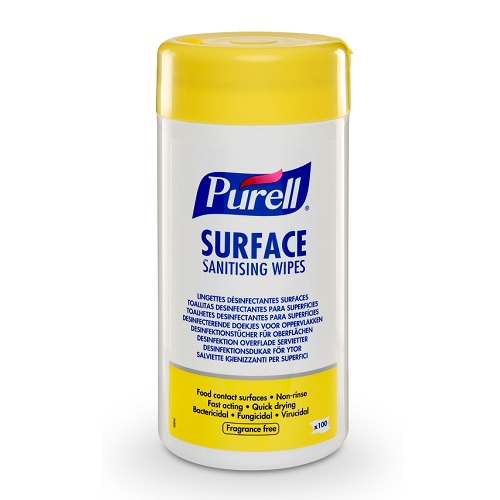Purell Surface Sanitising Wipes 100's 95102-12 [Pack 12] | Convenient, effective surface wipes for food contact surfaces | Fusion Office UK
