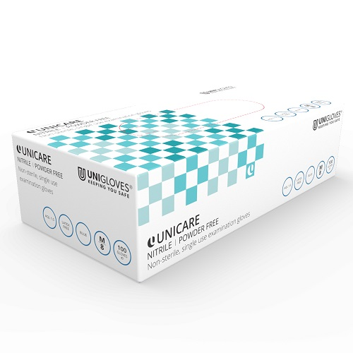 Unicare Nitrile Powder-Free Gloves Medium GS0033 [Pack 100]   Blue   General use: care, catering, janitorial & industrial   Fusion Office UK