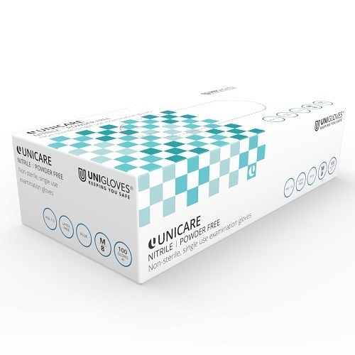 Unicare Nitrile Powder-Free Gloves Small GS0032 [Pack 100]   Blue   General use: care, catering, janitorial & industrial   Fusion Office UK